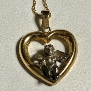 14k Yellow Gold Open Heart with Sterling 3D Angel